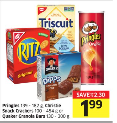 Pringles 139 - 182 g - Christie Snack Crackers 100 - 454 g or Quaker Granola Bars 130 - 300 g
