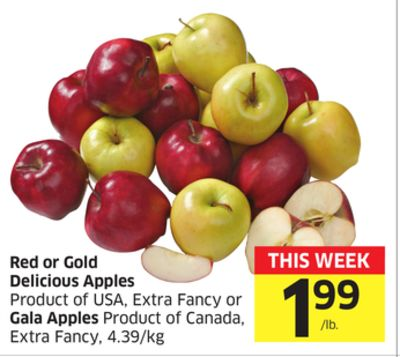 Red or Gold Delicious Apples Product of USA - Extra Fancy or Gala Apples Product of Canada - Extra Fancy - 4.39/kg