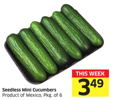 Seedless Mini Cucumbers Product of Mexico - Pkg of 6