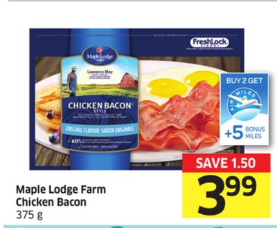 Maple Lodge Farm Chicken Bacon 375 G- +5 Air Miles Bonus Miles