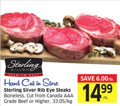 Sterling Silver Rib Eye Steaks Boneless - Cut From Canada Aaa Grade Beef or Higher - 33.05/kg