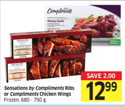 Sensations By Compliments Ribs or Compliments Chicken Wings Frozen - 680 - 750 g