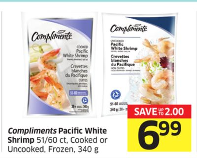 Compliments Pacific White Shrimp 51/60 Ct - Cooked or Uncooked - Frozen - 340 g