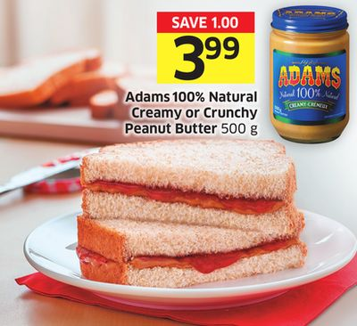 Adams 100% Natural Creamy or Crunchy Peanut Butter 500 g
