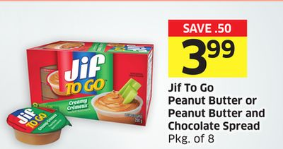 Jif To Go Peanut Butter or Peanut Butter and Chocolate Spread Pkg of 8