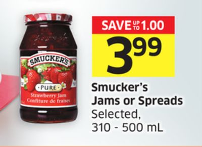 Smucker's Jams or Spreads Selected - 310 - 500 mL