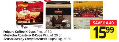 Folgers Coffee K-cups Pkg of 30 - Muskoka Roastery K-cups Pkg of 20 or Sensations By Compliments K-cups Pkg of 30