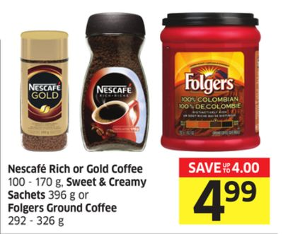 Nescafé Rich or Gold Coffee 100 - 170 g - Sweet & Creamy Sachets 396 g or Folgers Ground Coffee 292 - 326 g