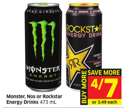 Monster - Nos or Rockstar Energy Drinks 473 mL