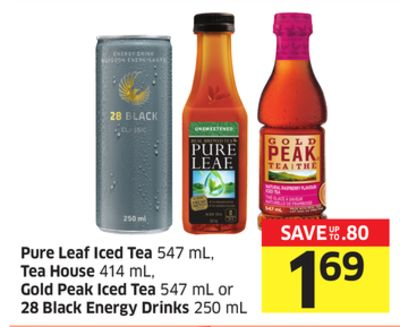 Pure Leaf Iced Tea 547 mL - Tea House 414 mL - Gold Peak Iced Tea 547 mL or 28 Black Energy Drinks 250 mL