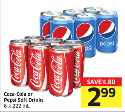 Coca-cola or Pepsi Soft Drinks 6 X 222 mL