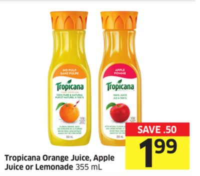 Tropicana Orange Juice - Apple Juice or Lemonade 355 mL