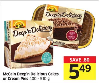 Mccain Deep'n Delicious Cakes or Cream Pies 400 - 510 g
