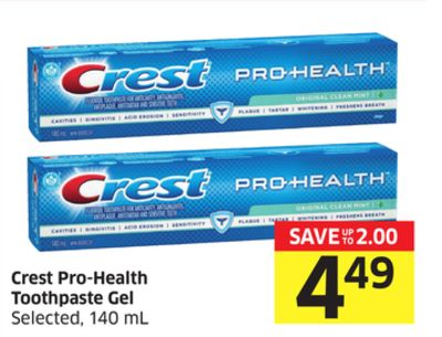 Crest Pro-health Toothpaste Gel Selected - 140 mL