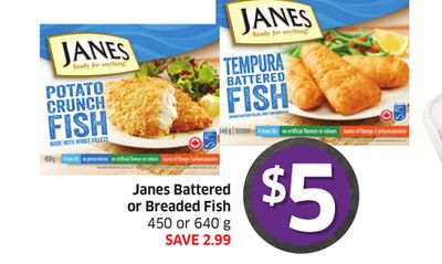 Janes Battered or Breaded Fish 450 or 640 g