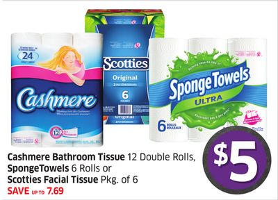 Cashmere Bathroom Tissue 12 Double Rolls - Spongetowels 6 Rolls or Scotties Facial Tissue Pkg of 6