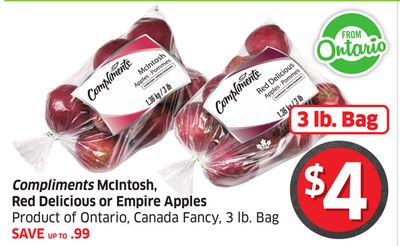 Compliments Mcintosh - Red Delicious or Empire Apples Product of Ontario - Canada Fancy - 3 Lb. Bag