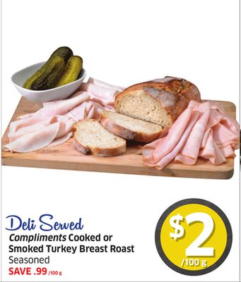 Compliments Cooked or Smoked Turkey Breast Roast Seasoned