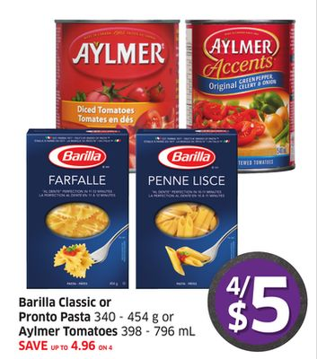 Barilla Classic or Pronto Pasta 340 - 454 g or Aylmer Tomatoes 398 - 796 mL