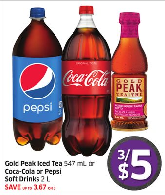 Gold Peak Iced Tea 547 mL or Coca-cola or Pepsi Soft Drinks 2 L