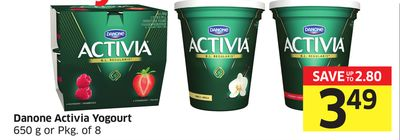 Danone Activia Yogourt 650 g or Pkg of 8