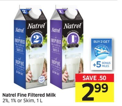 Natrel Fine Filtered Milk 2% - 1% or Skim - 1 L - 5 Air Miles Bonus Miles