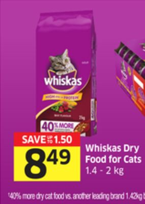 Whiskas Dry Food For Cats 1.4 - 2 Kg