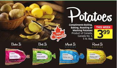 Compliments Boiling - Baking - Roasting or Mashing Potatoes Product of Canada - Canada No. 1 - 5 Lb. Bag