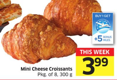 Mini Cheese Croissants Pkg of 8 - 300 g - +5 Air Miles Bonus Miles