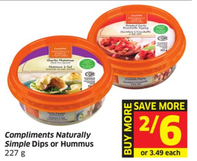 Compliments Naturally Simple Dips or Hummus 227 g
