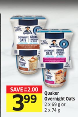 Quaker Overnight Oats 2 X 69 g or 2 X 74 g - 15 Air Miles Reward Miles