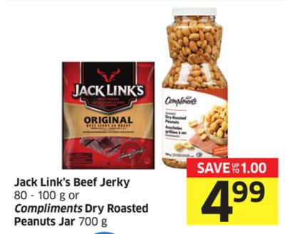 Jack Link's Beef Jerky 80 - 100 g or Compliments Dry Roasted Peanuts Jar 700 g