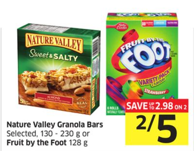 Nature Valley Granola Bars Selected - 130 - 230 g or Fruit By The Foot 128 g