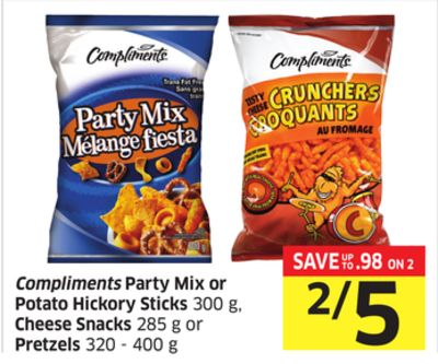 Compliments Party Mix or Potato Hickory Sticks 300 g - Cheese Snacks 285 g or Pretzels 320 - 400 g