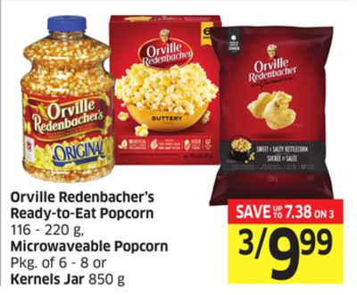 Orville Redenbacher's Ready-to-eat Popcorn 116 - 220 g - Microwaveable Popcorn Pkg of 6 - 8 or Kernels Jar 850 g
