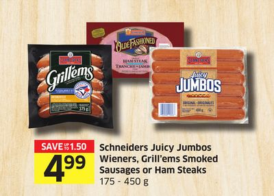 Schneiders Juicy Jumbos Wieners - Grill'ems Smoked Sausages or Ham Steaks 175 - 450 g