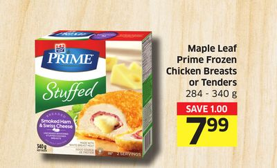 Maple Leaf Prime Frozen Chicken Breasts or Tenders 284 - 340 g
