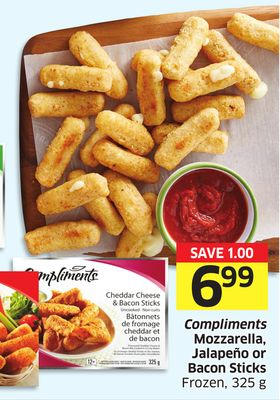 Compliments Mozzarella - Jalapeño or Bacon Sticks Frozen - 325 g