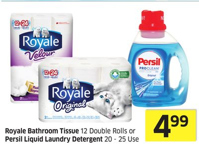 Royale Bathroom Tissue 12 Double Rolls or Persil Liquid Laundry Detergent 20 - 25 Use