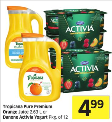 Tropicana Pure Premium Orange Juice 2.63 L or Danone Activia Yogurt Pkg of 12