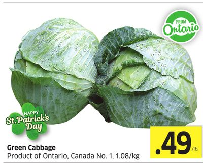 Green Cabbage Product of Ontario - Canada No. 1 - 1.08/kg