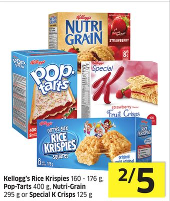 Kellogg's Rice Krispies 160 - 176 g - Pop-tarts 400 g - Nutri-grain 295 g or Special K Crisps 125 g
