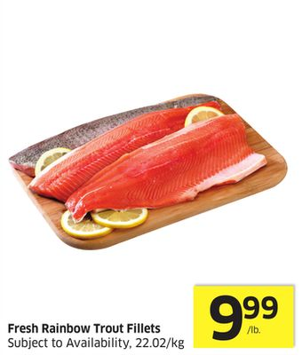 Fresh Rainbow Trout Fillets Subject To Availability - 22.02/kg