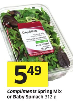 Compliments Spring Mix or Baby Spinach 312 g