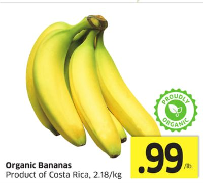 Organic Bananas Product of Costa Rica - 2.18/kg