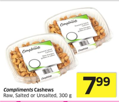 Compliments Cashews Raw - Salted or Unsalted - 300 g