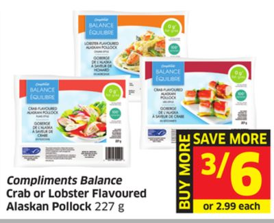 Compliments Balance Crab or Lobster Flavoured Alaskan Pollock 227 g