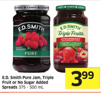 E.d. Smith Pure Jam - Triple Fruit or No Sugar Added Spreads 375 - 500 mL