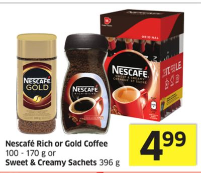 Nescafé Rich or Gold Coffee 100 - 170 g or Sweet & Creamy Sachets 396 g