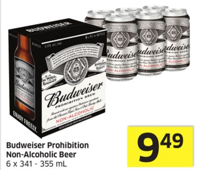 Budweiser Prohibition Non-alcoholic Beer 6 X 341 - 355 mL